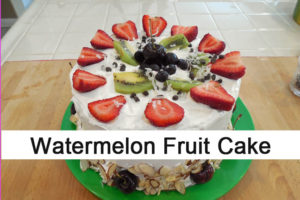 Ripe Watermelon Cake with Whipped Cream Topping