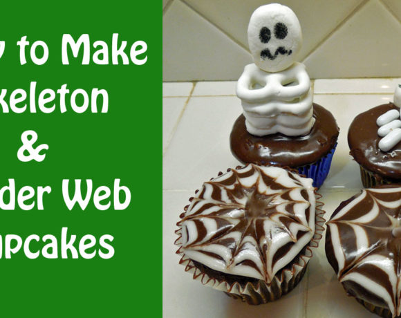 Simple Halloween Skeleton & Spider Web Cupcakes