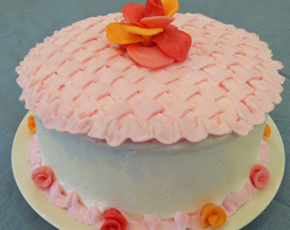 How to Make Basket Weave Cake with Candy Flower