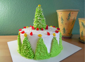 Simple Christmas Tree Ruffle Cake