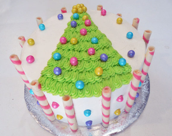 Bright Christmas Tree Cake