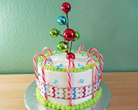 Colorful Christmas Candy Cane Cake