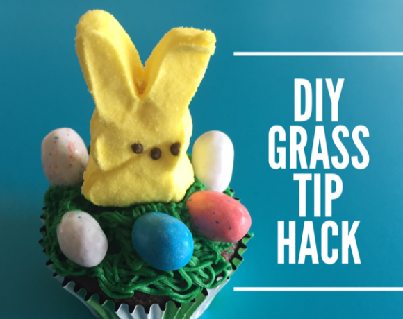 DIY Tip Hack for Making Grass with Bunny Cupcake